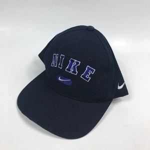 Adult OSFA Nike Bootleg Black Blue Spellout Hat